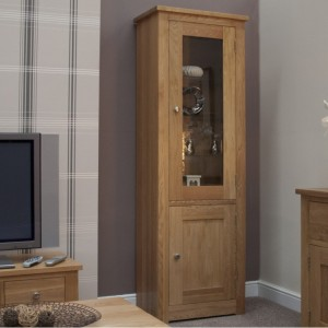 Homestyle Torino Solid Oak Furniture 1 Door Glass Display Unit