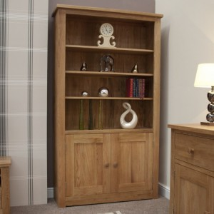 Homestyle Torino Solid Oak Furniture 2 Door Bookcase