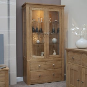 Homestyle Torino Solid Oak Furniture 2 Door Glass Display Unit