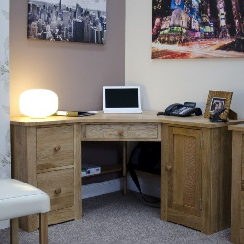 Homestyle Torino Solid Oak Furniture Corner Computer Desk
