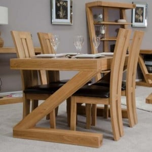 Homestyle Z Solid Oak Furniture 4ft x 3ft Dining Table and Chairs Set