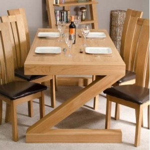 Homestyle Z Solid Oak Furniture 6ft x 3ft Dining Table and Chairs Set