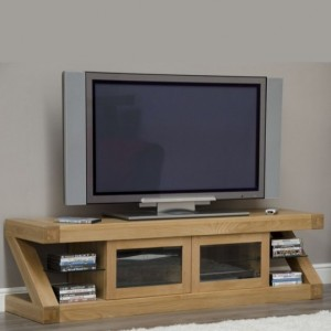 Homestyle Z Solid Oak Furniture Glazed TV Unit