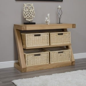 Homestyle Z Solid Oak Furniture Basket Console Table