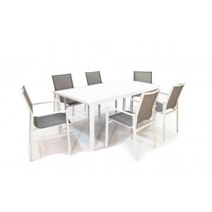 Maze Rattan Amalfi Garden 6 Seat Rectangle Dining Set White Textiline