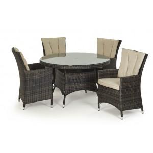 Maze Rattan Garden Furniture LA Brown 4 Seater Round Dining Table Set