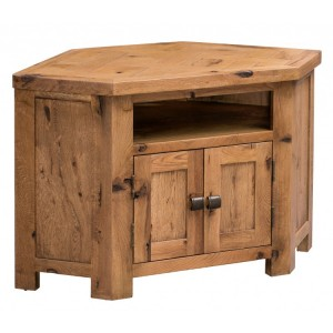 Homestyle Aztec Oak Furniture Rustic 2 Door Corner TV Unit