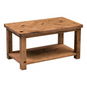 Homestyle Aztec Oak Furniture Rustic Coffee Table with Low Shelf