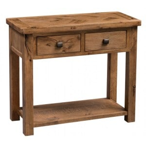 Homestyle Aztec Oak Furniture Rustic 2 Drawer Hall Table