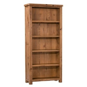Homestyle Aztec Oak Furniture Rustic Large 5 Shelf Bookcase