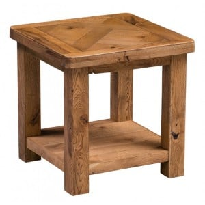 Homestyle Aztec Oak Furniture Rustic Lamp Table with Low Shelf