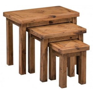 Homestyle Aztec Oak Furniture Rustic Nest of 3 Tables