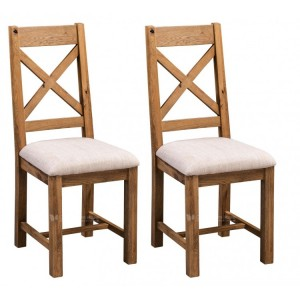 Homestyle Aztec Oak Furniture Rustic Cross Back Dining Chair Pair