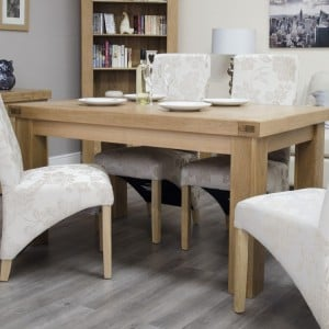 Bordeaux Solid Oak Furniture Dining Table 5' x 3' and 4 Chair Set