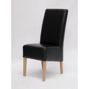 Homestyle Chair Collection Oslo Black Leather Dining Chair Pair