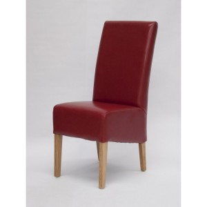 Homestyle Chair Collection Oslo Red Leather Dining Chair Pair