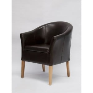 Homestyle Chair Collection Tub Brown Leather Dining Chair Pair