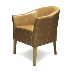 Homestyle Chair Collection Tub Tan Leather Dining Chair Pair
