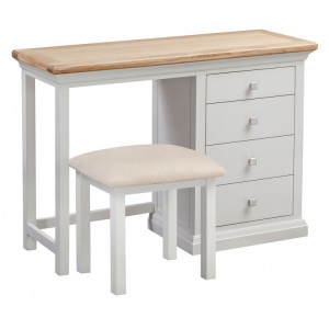 Homestyle Cotswold Two-Tone Oak Furniture Dressing Table and Stool Set