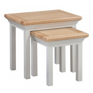 Homestyle Cotswold Two-Tone Oak Furniture Nest Of 2 Tables