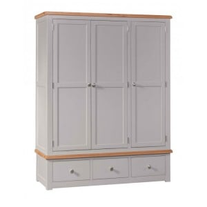 Homestyle Diamond Grey Painted Furniture Triple Wardrobe