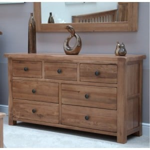 Homestyle Rustic Style Oak Furniture 7 Drawer Multi Chest
