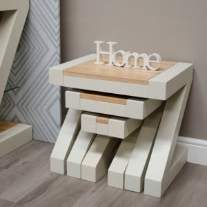 Homestyle Z Painted Oak Furniture Nest Of Tables