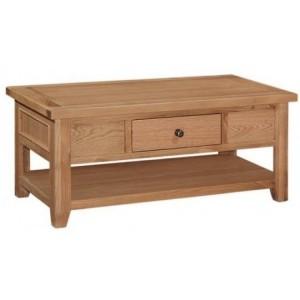 Canterbury Wax Oak Furniture 1 Drawer Coffee Table with Shelf