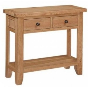 Canterbury Wax Oak Furniture 2 Drawer Console Table with Shelf