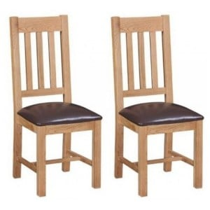 Canterbury Wax Oak Furniture Pair of Dining Chairs with PU Seats