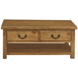 Fairford Rustic Furniture 2 Drawer Large Coffee Table with Shelf