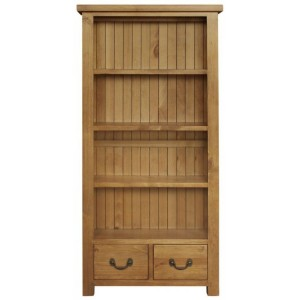 Fairford Rustic Furniture 2 Drawer Tall Bookcase