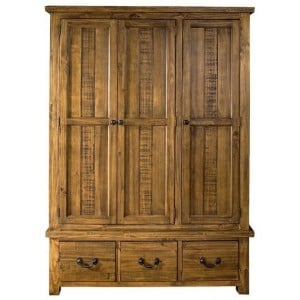 Fairford Rustic Furniture 3 Drawer Triple Wardrobe