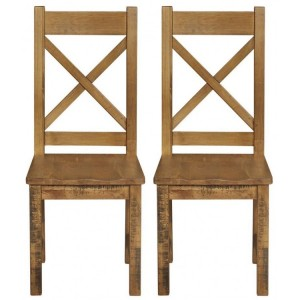 Fairford Rustic Furniture Dining Chair Pair Wooden Seat Pad