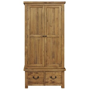 Fairford Rustic Furniture Double Wardrobe with 2 Drawers