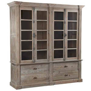 Hanoverian Reclaimed Pine 4 Door 4 Drawer Glazed Display Unit