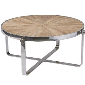 Hanoverian Reclaimed Pine Furniture Chrome Hoop Round Coffee Table