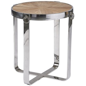 Hanoverian Reclaimed Pine Furniture Chrome Hoop Round Lamp Table