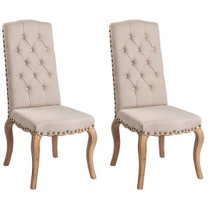 Hanoverian Reclaimed Pine Furniture Fabric Dining Chair Pair
