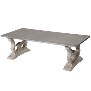 Hanoverian Reclaimed Pine Furniture Rectangular Zinc Top Coffee Table