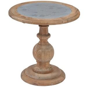 Hanoverian Reclaimed Pine Furniture Small Zinc Top Lamp Table