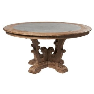 Hanoverian Reclaimed Pine Furniture Zinc Circular Dining Table
