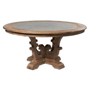 Hanoverian Reclaimed Pine Furniture Zinc Circular Dining Table