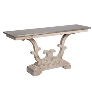 Hanoverian Reclaimed Pine Furniture Zinc Top Console Table