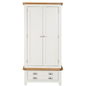 Hove Off-White Painted Furniture Double Gents Wardrobe with Drawer