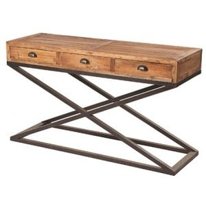 Kingsley Furniture 3 Drawer X Base Console Table