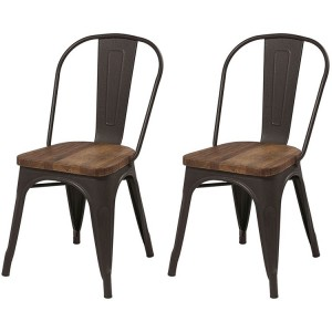 Kingsley Furniture Metal and Wood Dining Chair Pair
