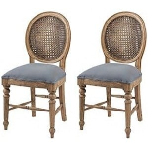 Pioneer Teak Furniture Blue Dining Chair Pair