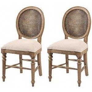 Pioneer Teak Furniture Cream Dining Chair Pair