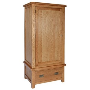Sussex Oak Furniture Single 1 Drawer 1 Door Wardrobe